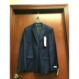 Calvin Klein Men Blue Blazer Jacket 42L  Wool